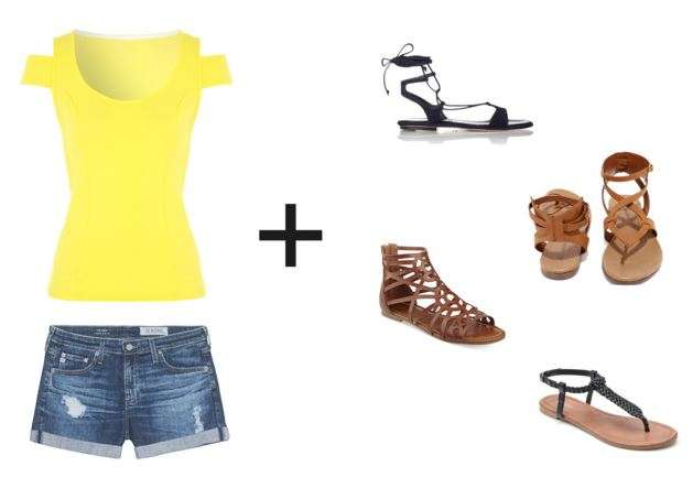 Shorts & Tee + Trendy Sandals