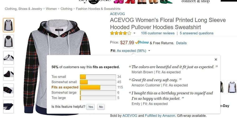 Amazon tells you whether something runs small, runs big, or fits as expected, based on reviews.