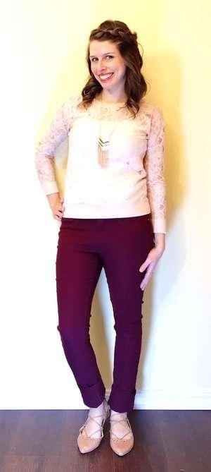 Lace Blouse + Gold + Lace-up Flats