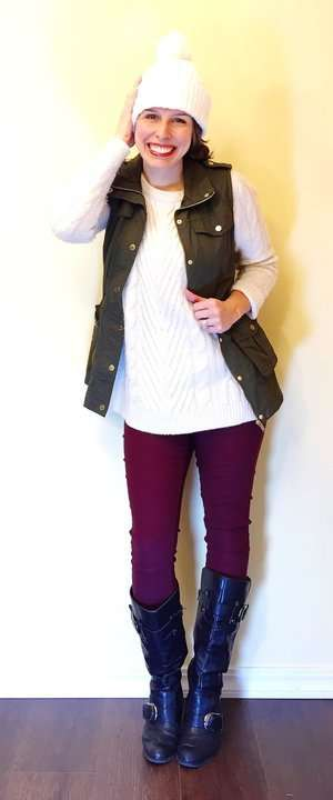Sweater + Utility Vest + Beanie Hat + Riding Boots
