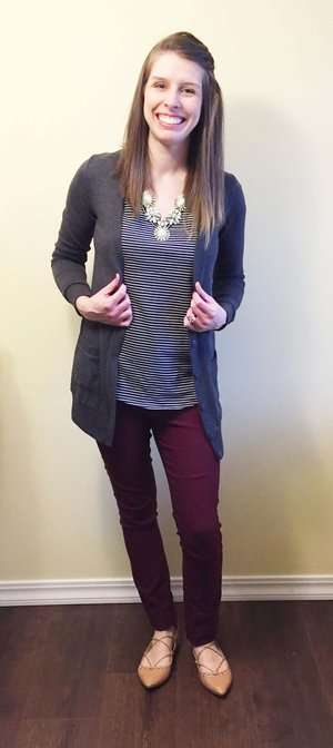Navy Striped Tee + Statement Necklace + Grey Boyfriend Cardigan + Lace-Up Flats
