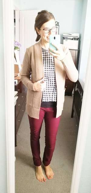 Gingham/Checker Tank Top + Thick Cardigan