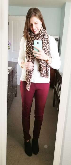 Knit Sweater + Leopard Scarf + Leather Watch + Black Booties
