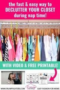 Purging your closet is the dreaded task you tend to avoid... maybe for years! This blog post makes it SO easy to quickly sort through your clothes and only keep what works for you. With a quick video, this mom blogger shares her simple tips that make your clothes clutter disappear with hardly any effort! That's my kind of closet purge! #tips #momlife #organization #clean #wardrobe #capsule #outfits
