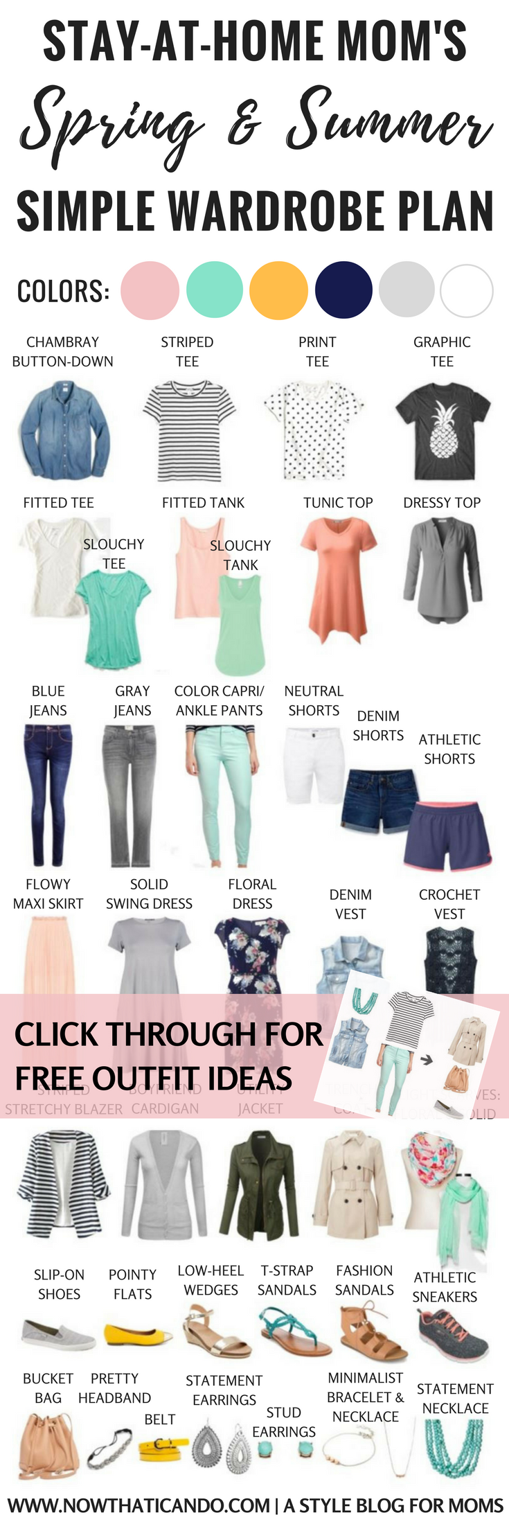 Stay-at-home mom needing ideas for a flexibly stylish but comfortable spring & summer wardrobe? Check out this simple ensemble that creates over 86 outfits to keep you looking un-frumpy all season! Click through for graphics and printables