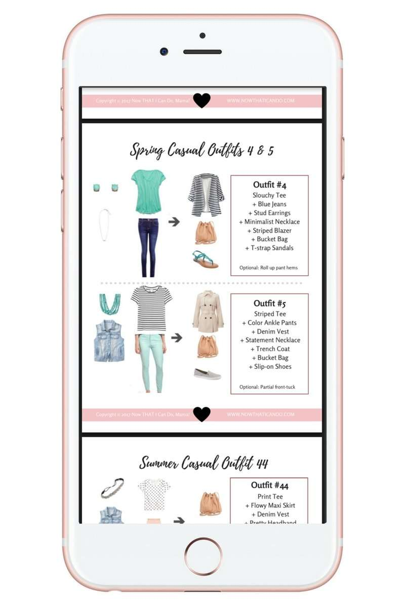 Stay-at-home mom needing ideas for a flexibly stylish but comfortable spring & summer wardrobe? Check out this simple ensemble that creates over 86 outfits to keep you looking un-frumpy all season! Click through for graphics and printables! #momlife #capsule #closet #outfits #wardrobe