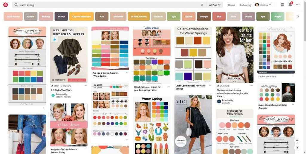 Searching for seasonal color palettes on Pinterest