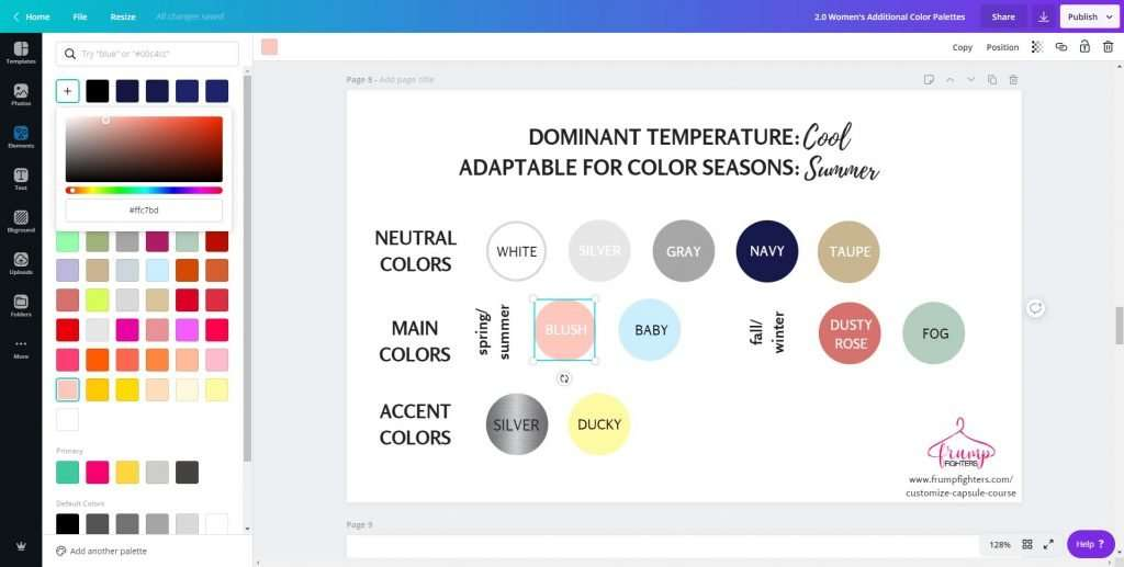 What colors should I wear - creating a wardrobe color palette on Canva