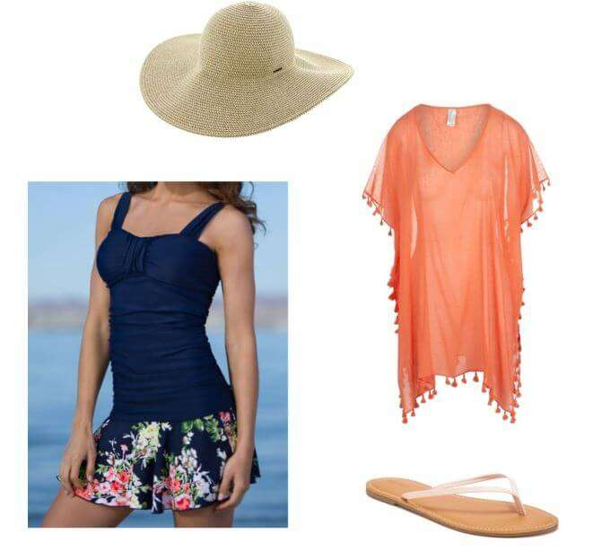 easy summer look for moms, vacation or weekend - beat-the-heat with swimsuit + cute coverup + flip flops + straw hat