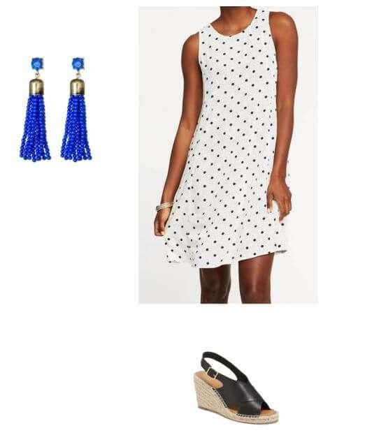 flowy dress +wedge sandals + fun earrings