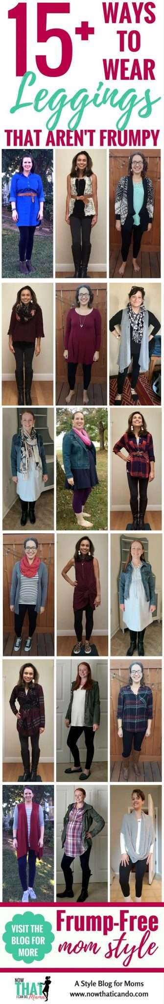 Having a hard time styling your #leggings? Moms just like you modeling how to wear leggings - non-frumpy, mom friendly, cute, chic fashion! #mom #fashion #outfits #tips #ideas #easy #clothes #style