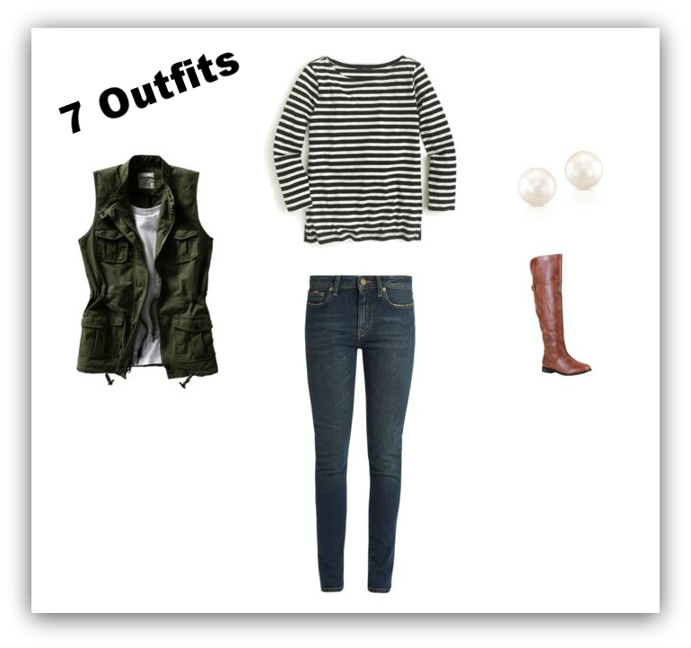 Outfit #1 Striped Tee + Jeans + Utility Vest + Stud Earrings + Riding Boots