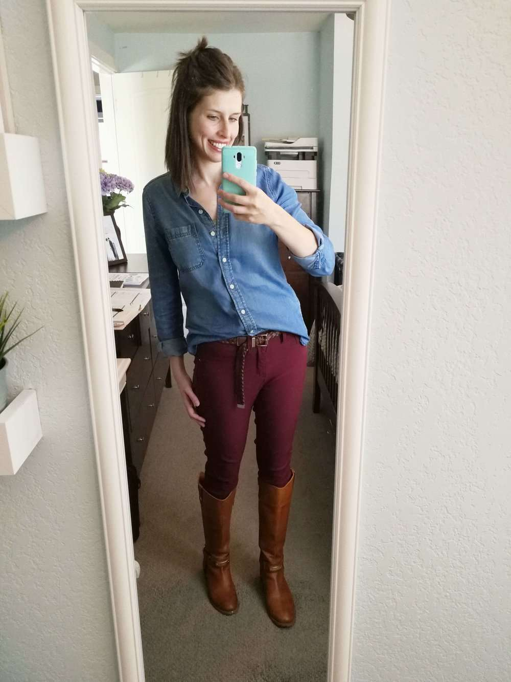 Chambray Top (partially tucked) + Burgundy Pants + Belt + Boots