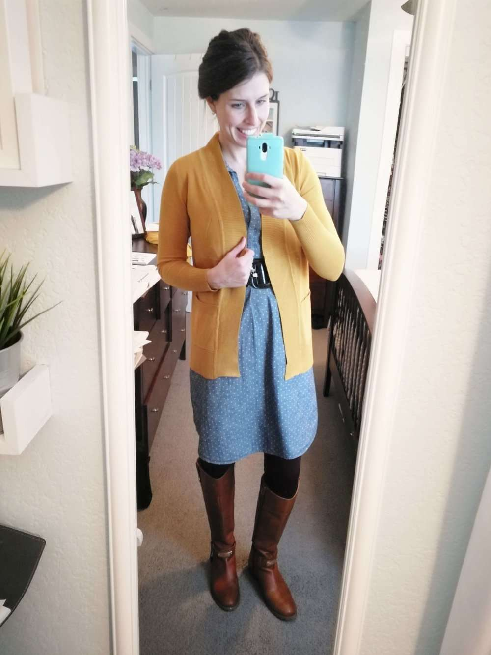 Polka Dot Chambray + Belt + Mustard Cardigan + Boots