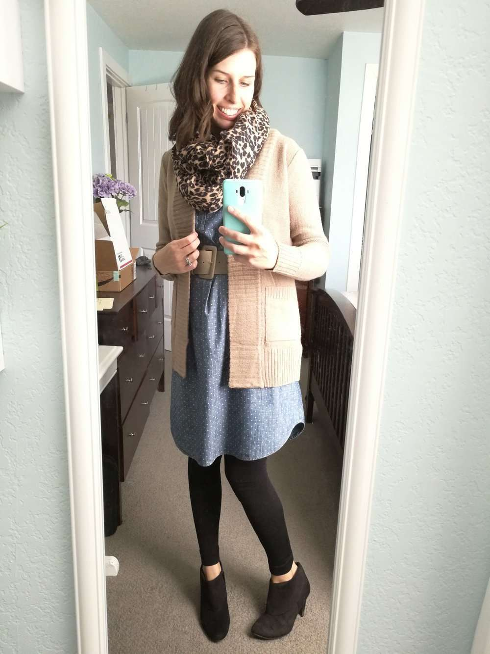 Polka Dot Chambray + Belt + Thick Cardigan + Leopard Scarf + Leggings + Ankle Boots