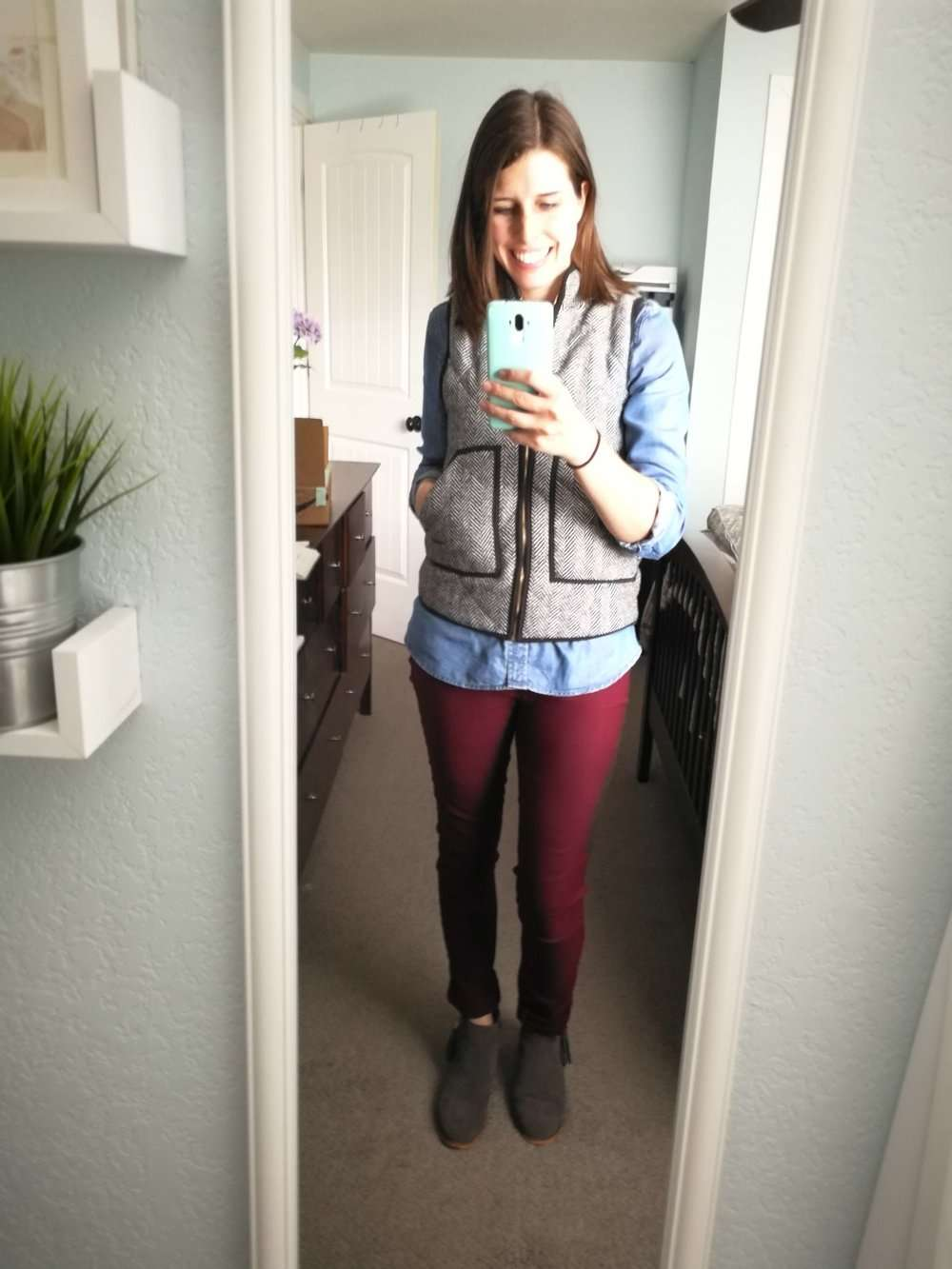 Chambray Top + Herringbone Quilted Vest + Burgundy Pants (cuffed) + Ankle Boots