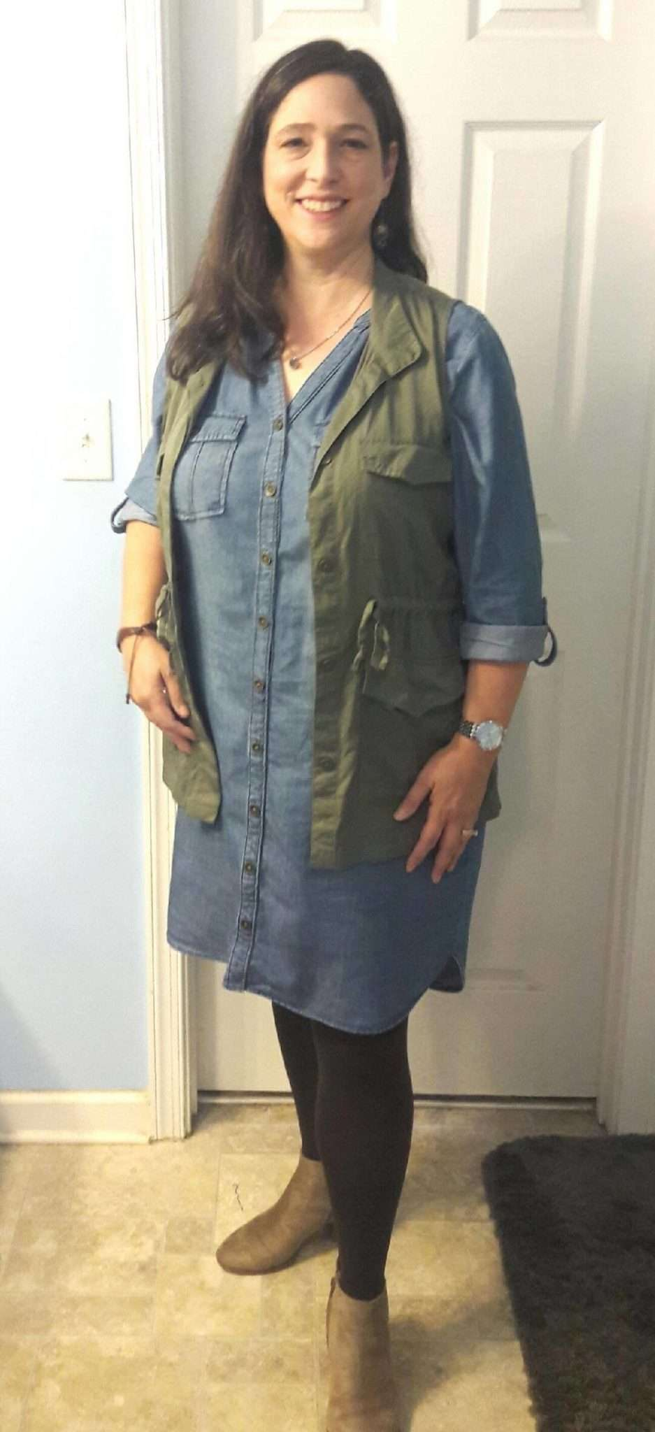 Chambray/Denim Dress + Utility Vest + Tights + Taupe Booties