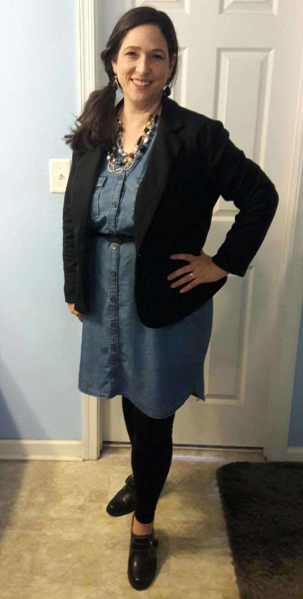 Chambray Dress + Belt + Blazer + Statement Necklace + Leggings + Mules