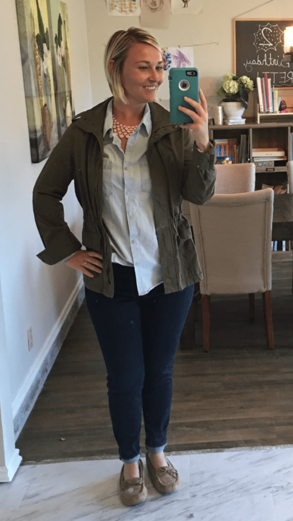 Chambray Top (partially tucked) + Statement Color Necklace + Navy Pants + Utility Jacket + Moccasin Slippers