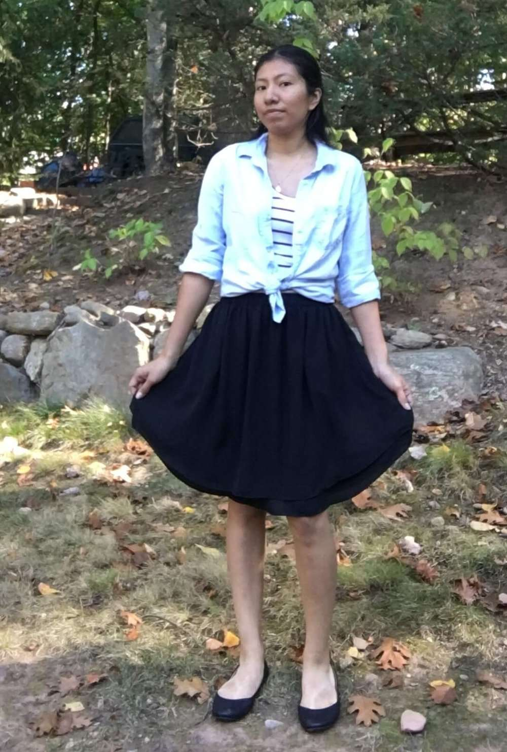 Striped Tank (tucked) + Chambray Top (open and tied) + Knee-length A-Line Skirt + Ballet Flats