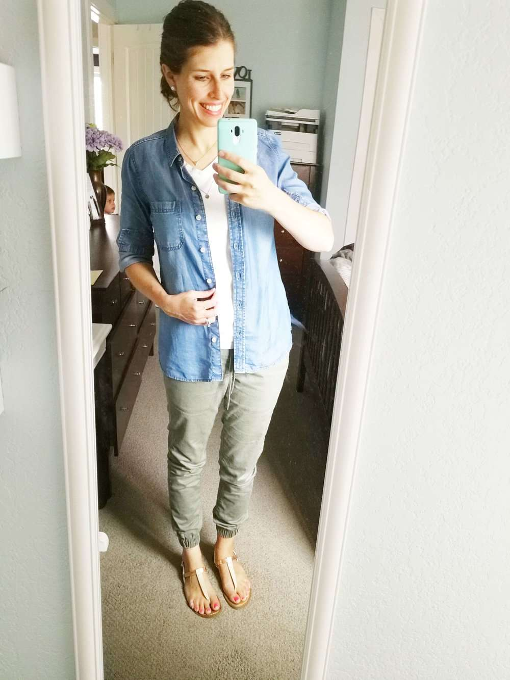 White Tee + Chambray Shirt (open) + Olive Joggers + Thong Sandals