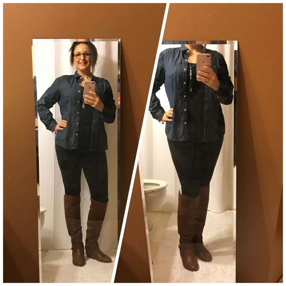 Black Shirt or Cami + Chambray Shirt (open) + Pendant Necklace +  Black Pants + Riding Boots