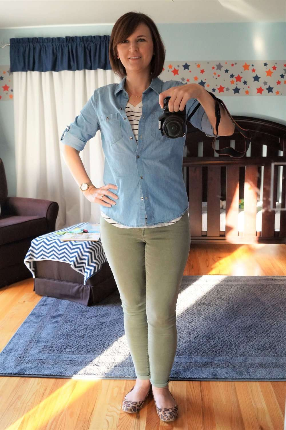 Striped Tee + Chambray Shirt + Olive Pants + Leopard Flats