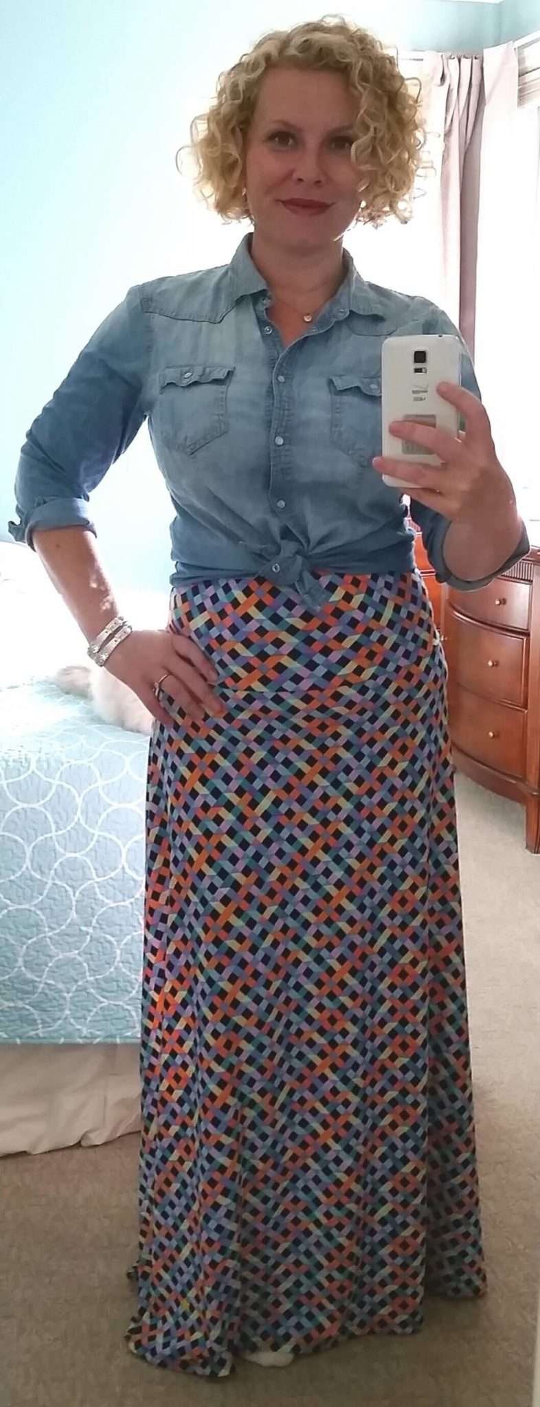 Cami Under-layer + Chambray Shirt (buttoned and end tied) + Pattern Maxi Skirt (unfolded and worn empire style)