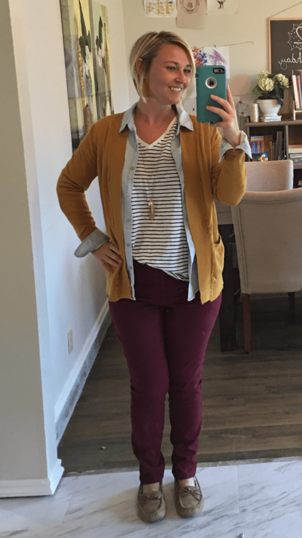 Striped Tee + Chambray Shirt (open) + Mustard Cardigan + Burgundy Pants + Moccasin Slippers