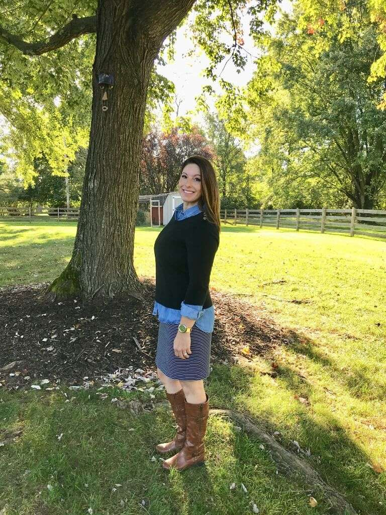 Striped Dress or Skirt + Chambray Shirt + Sweater + Riding Boots