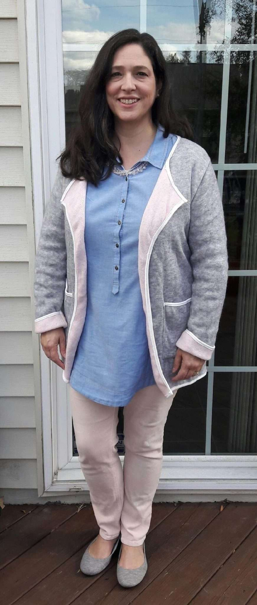 Henley Chambray Top + Pale Pink Pants + Gray Ballet Flats + Fleece Jacket