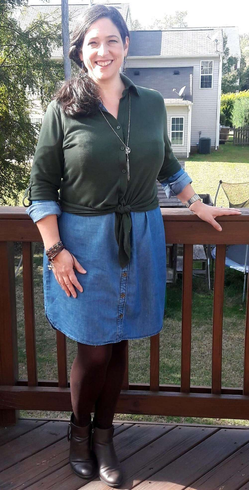 Chambray Dress + Tied Button Down Overlay + Pendant Necklace + Tights + Booties