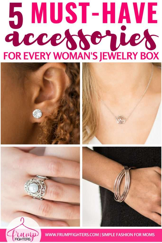 Now that I'm a stay-at-home mom I struggle with remembering those finishing touches to my outfit, like jewelry! Simple is the best when it comes to wearing jewelry with kids hanging off of you so I love this list of 5 staple jewelry pieces to have on hand! I can dress them up or down as much as I want to and still they are timeless and classic. Check out this blog post on must-have, mom-friendly jewelry! #tips #fashion #mom #ideas #style #tricks #momlife #outfits #easy #clothes #jewelry