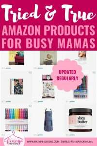 The best Amazon products for women. This can be a go-to list for tried and true tools, resources, gadgets, books, and clothes for stay at home or working moms who love fashion and a purposeful life! Best products for kids and babies too. The mom from the Frump Fighters blog has purchased and used nearly most of these items and only recommends the best picks for being affordable and quality with good reviews. #amazon #stayathomemom #momlife