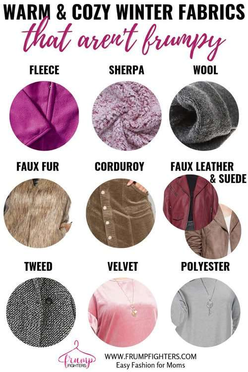 Cute & comfy fabrics you can use to layer clothes for winter including sweaters, jeans, shoes, leggings, dresses. 10 best warm fabrics for winter! Love this list! What to wear to stay warm in winter. #warm #winteroutfits #howtowear #cozy #momstyle