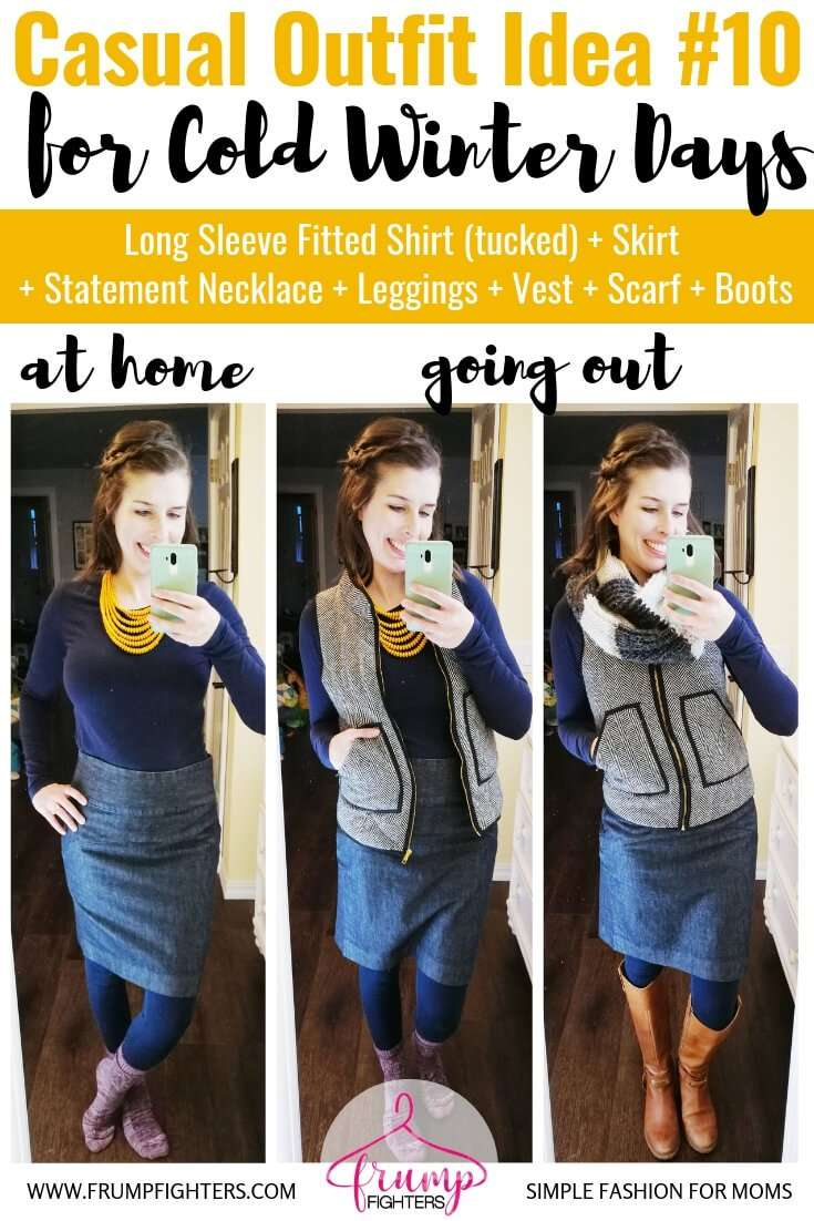 How to dress cute in layers for winter using a skirt - Long Sleeve Fitted Shirt + Herringbone Vest + Skirt +Knit Scarf + Leggings + Boots.