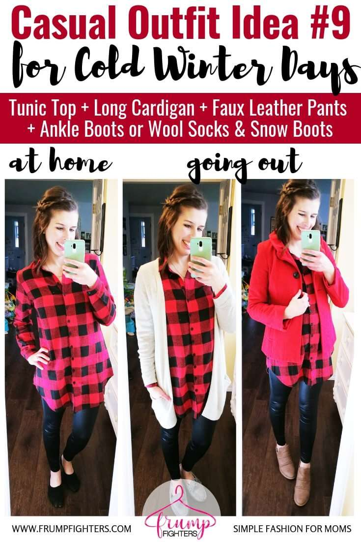 How to dress cute in layers to stay warm and stylish in winter- Casual Chic Outfit Idea -Buffalo Check Tunic + Long Cardigan + Faux Leather Pants + Ankle Boots