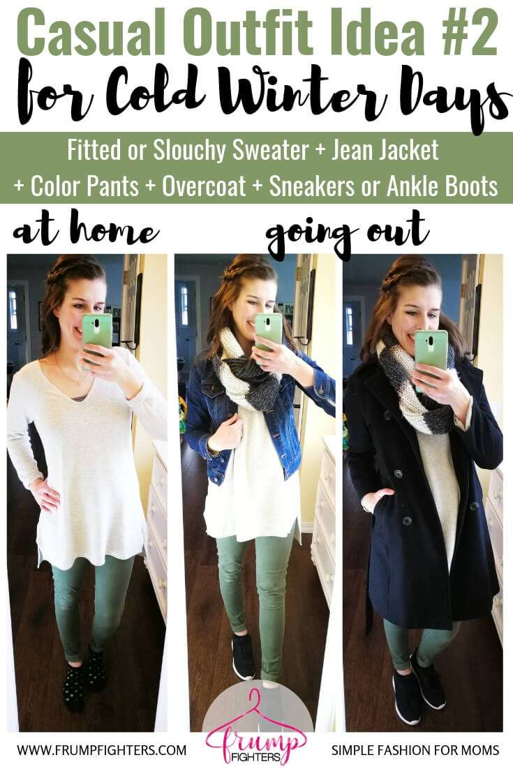 How to dress cute in layers to stay warm and stylish in winter- Casual Chic Outfit Idea - Fitted or Slouchy Sweater + Jean Jacket +Olive Pants + Lace-Up Sneakers.jpg