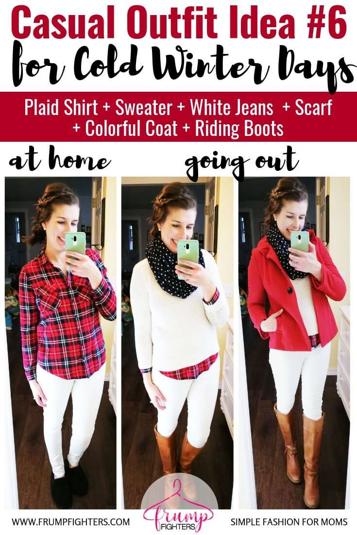 How to dress cute in layers to stay warm and stylish in winter- Casual Chic Outfit Idea -Plaid Shirt + Sweater + White Jeans + Polka Scarf + Red Coat + Riding Boots