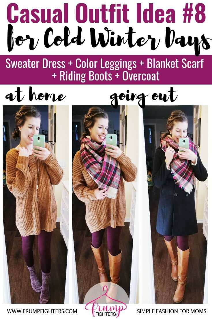Layering dresses for winter, how to dress warm and cute outfit ideas-  Sweater Dress + Blanket Scarf + Leggings + Tall Boots + Overcoat