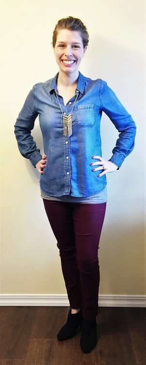 Chambray top + Gold + Ankle Boots