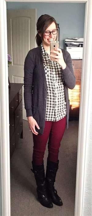 Gingham Plaid Shirt + Grey Cardigan + Black Boots