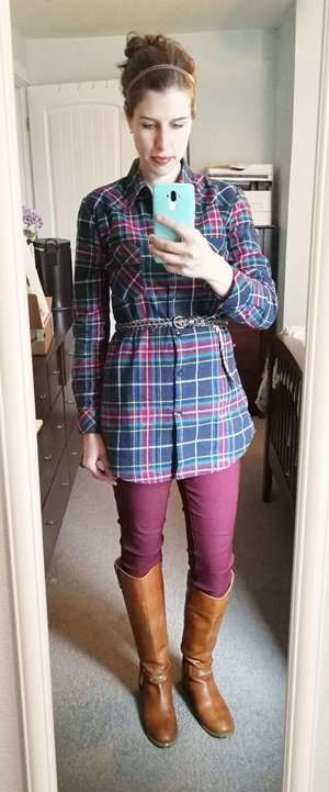 Tunic Plaid Shirt (Belted) + Cognac Riding Boots