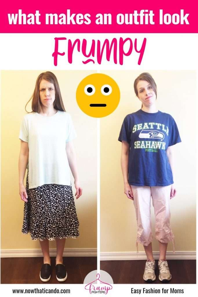 The word frumpy conjures up wrinkled noses and wary looks. Do you know what frumpy is? How do you define what makes an outfit or piece of clothing frumpy? This mama simply explains the word frumpy and gives 7 quick tips on how to avoid it! Dressing well has never been so easy! #momlife #outfits #style #fashion #mom #capsule #clothes