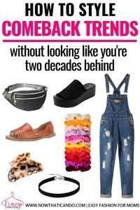 Avoid looking out dated by following this easy step-by-step guide on how to wear comeback trends. You don't have to look like you're two decades behind when you want to wear overalls or scrunchies! I love this mama's tips for wearing trends, it's so helpful! #trends #style #wardrobe #clothes #tips #fashion
