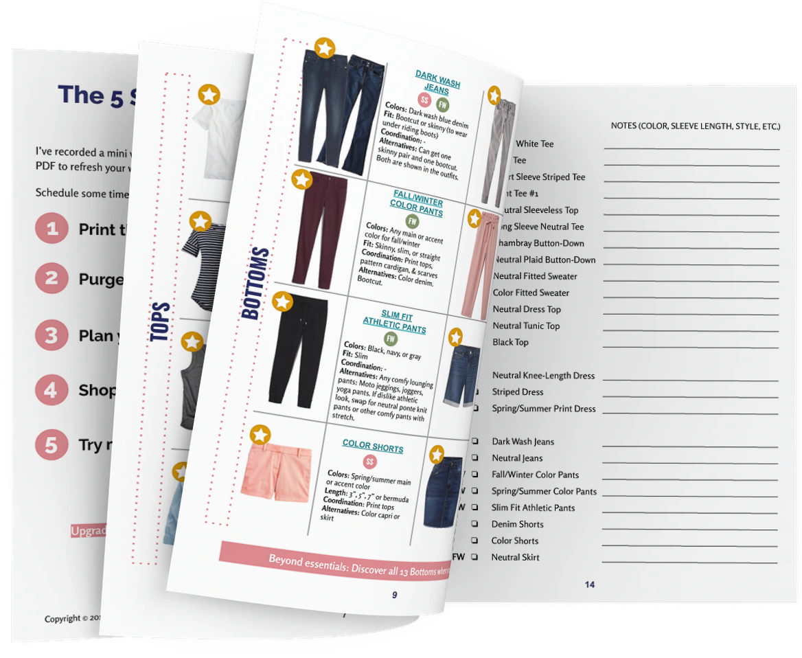Capsule wardrobe plan for moms - Free PDF Checklist