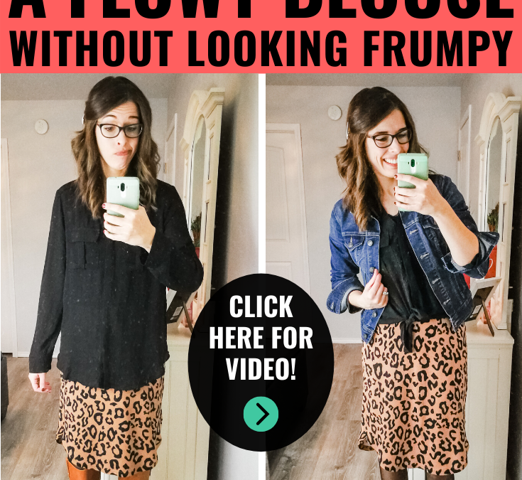 I learned how to style a flowy blouse without looking frumpy by watching this short video from a mom of 3, just like me! I love that she keeps it real and classy! #howto #fashion #momlife #dressyoutfit #skirtoutfit #blouseoutfit