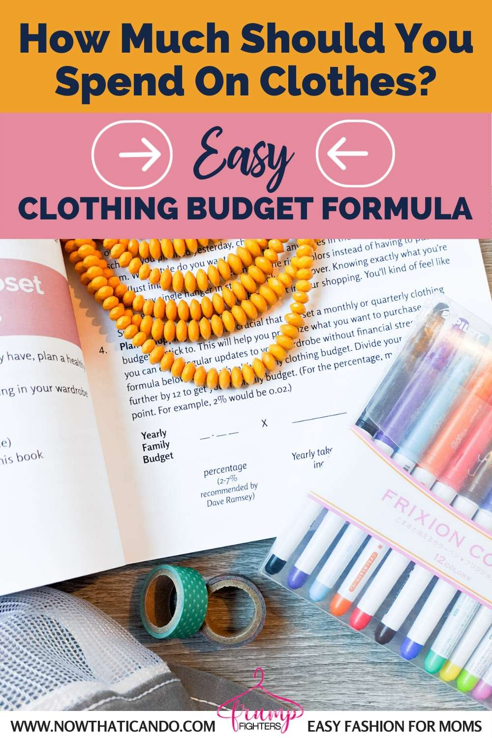 How to find healthy clothing budget to build a budget capsule wardrobe. Love this easy formula and all the tips on this post about making the most of your existing wardrobe to save money on clothes shopping.