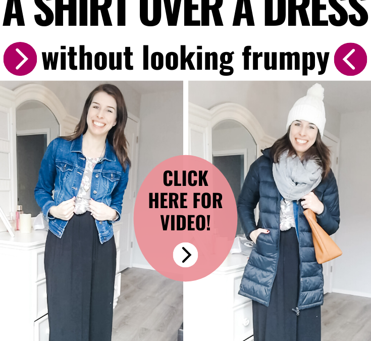 Layer a shirt over a dress to create a fresh look with clothes you already have. This short video shows you how to create a simple, casual look by knotting a top over a dress. If this mom can do it, I know I can too! #casualstyle #momstyle #fashiontips #dressoutfit #casualoutfits