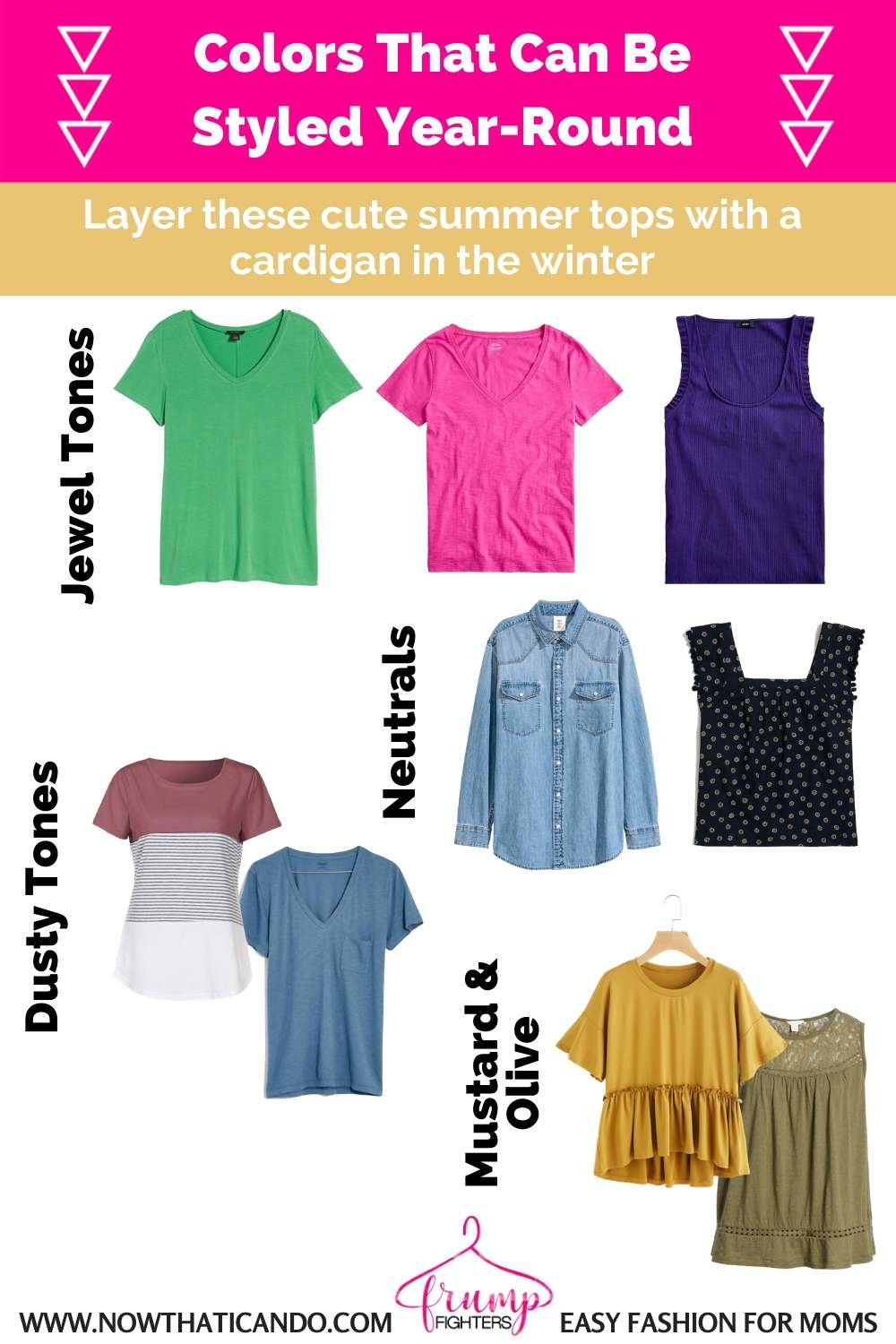 How to make the most of your existing wardrobe - Colors that work year round in all seasons to create a versatile best color scheme palette.